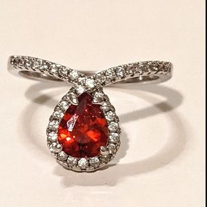 Scandalous Pear Red Ring Size 8 Fragrant Jewels